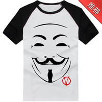 2014 Hot Sale Fashion V For Vendetta Tees Image Printing Short-sleeve T-shirt All-match Loose Casual Men's Tops Free Shipping