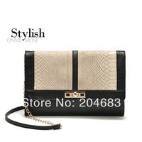 2014 new Matalan serpentine pattern black women messenger bag chain bag women's handbag evening bag