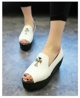2014 spring new European and American fish head slope with thick crust muffin heels
