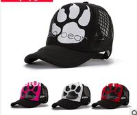 Hello bear hand print mesh hat Hip hop mesh caps trucker hats