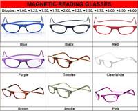 (12pcs/lot) Folding magnetic reading glasses colorful plastic reading glasses many colors accept mixed order