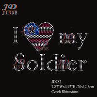 7.87Inches Hotfix Rhinestones I Love My Soldier Motif Heat Transfer IronFor T-Shirt ,Garment 21pcs/lot