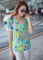2014 Hot Sale blouse new Cool Summer puff sleeve flowers print Chiffon shirt, short sleeve blouse women summer M~XXL F6002