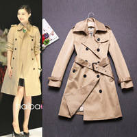 Free shipping women's brand classical turn-down collar British style double breasted Slim long Outwear/trench coat Black/Khaki