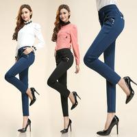 Women Fashion OL Slim Pants Casual Work Pencil Zip Long Trousers Slacks New 2014 Hot selling