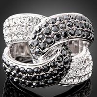 New Design Platinum Plated Austrian Crystal Rhinestone Retro Engagement Ring Jewelry J00924