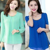 Free shipping 2014 women new arrival plus size slim chiffon shirts blouses basic tops ladies sexy long sleeve blouse shirt top