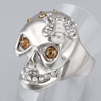 Good Quality Skull Head Punk Enamel Bee Austria Crystal Woman Men Ring Halloween Jewelry J00053