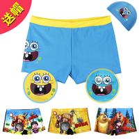 Child swimwear male child cartoon boxer swimming trunks baby swimwear male big boy swimming cap