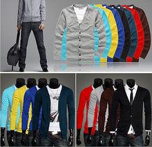 2014New fashion Spring Autumn men sweater knitting long sleeve V-neck knitted(China (Mainland))