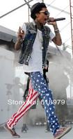 2014 new fashion designer jeans men robin american flag printed jeans jeans bike rock pant large size 30-36
