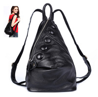 Genuine leather backpack women 2014 new European and American back pack College wind fashion leisure Korean Leather Backpack