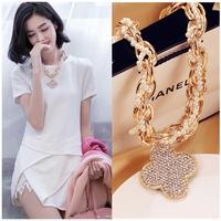 Four leaf clover necklace female rhinestone necklace chain female long necklace fashion design