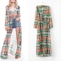 2014 spring and summer chiffon pleated  dress one-piece dress long-sleeve  beach women dress bohemia