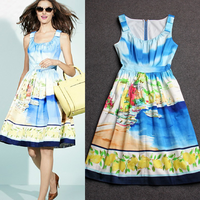 2014 Summer Active Vintage High Quality Casual Sleeveless & Knee-Length Blue Landscape Painting Print Loosen Dresses