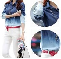 2014 New Spring S-XXXL Women's Long Sleeve Jeans T Shirt Camisa Jeans Feminina Denim Blouse Gradient Women Tees Tops