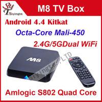 5pcs/lot Android 4.4 TV Box M8 Amlogic S802 Quad Core XBMC Media Player Octa Core Mali450 GPU 4K HD 2.4G/5G Dual WiFi Mini PC