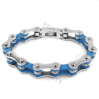 Free shipping! Bling Motorcycle Bracelet Stainless Steel Jewelry Fashion Silver & Blue Bicycle Chain Motor Bracelet SJB0150