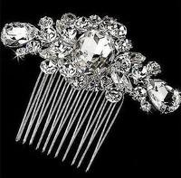 3'' 2014 New Flower Crystal Handmade Hair Comb. RhinestoneBridal Hair Accessories Wedding Jewelry. Bouquet Pageant