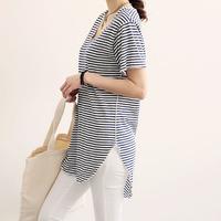Naning9 fine stripe summer women's t-shirt female short-sleeve T-shirt