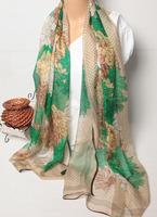 108001 180x65cm 2014 Newest Women'sSilk Chiffon Scarf, 100% Silk scarves, rectangle silk scarf, Free Shipping