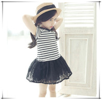 2015 Summer Bow Puff Female Child Children's Clothing Stripe Net Fabric Elegant Princess Lace One-piece Dress Free Shipping A097