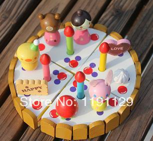 Wood cake kitchen toys wooden toys role play toys for children learning and educational toys DIY toys birthday gifts for kids(China (Mainland))