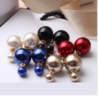 fashion panpiemras paragraph double faced pearl stud earring
