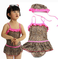 2014 Summer Kids swimsuit Children's clothing swim wear One Pieces Girl's Leopard swimming  Clothes 14025044