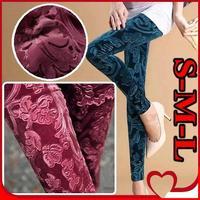 New 2014 Korean Slim Gold Velvet Leggings women Printed pencil pants Autumn Winter 9 candy color Pants Plus size S-M-L
