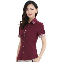 2014 New Fashion Hot Summer women clothes blouses Casual ladies plus size tops Slim Career chiffon bead short sleeve shirt