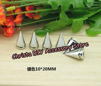 20PCS 10*20mm Silver Top Sale DIY Punk Spike Screwback Rivet Alloy Bullet Stud Garment accessory Free Shipping