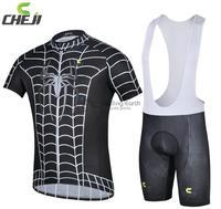 2014 NEW! Cheji Spider man short sleeve cycling jersey bib shorts set bike bicycle wear clothes jersey pants,Free shipping!