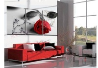 Hand Painted Oil Painting on Canvas Rose Flowers Pictures Unframed Mural Painting Entrance Decorative Living Room 3 panel art