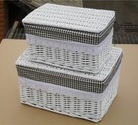 Rattan willow white quality storage basket Large storage basket with lid storage box , customize gift box