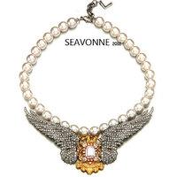 New Fashion 2014 European style crystal Wing pearl necklace women fashion statemen