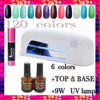 free shipping 6 Color Gel+UV Lamp+TOP COAT+BASE COAT Glue Soak Off Nail Gel Polish  Nails Gel Set  UV LED Gel