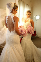 2014 Luxury Fashionable Custom Made White Lace And See Through Mermaid Wedding Dresses Bridal Gowns