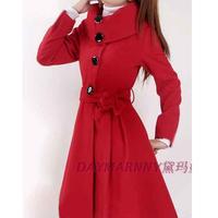 2014 long-sleeve woolen one-piece dress autumn and winter plus size mm women's slim long design wool skirt
