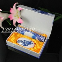 free shipping New arrival blue and white porcelain mouse pad wireless mouse twinset exquisite gift set