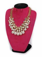 Luxurious necklace the trend of fashion elegant quality rhinestone gem bride short design pearl necklace female