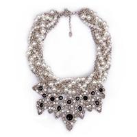 Fashion luxury elegant fashion gem rhinestone multi-layer short design pearl necklace female
