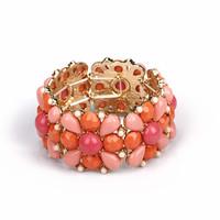 Fashion fashion accessories elastic bracelet elegant flower gem rhinestone gold fashion hand ring female