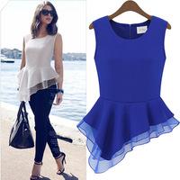 Hot sales new summer women blouse minimalist design wild irregular hem chiffon shirt Crewneck white/blue full size free ship