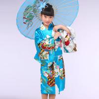Child kimono female japanese style long kimono child wear sevolution performance clothing