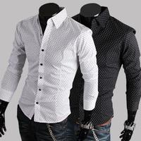 new Fashion Classic dot cotton casual men's Long-Sleeve Shirt Free Shipping 2 color