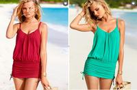 One Pcs Nylon Acrylic Monokini Ruching Women's Swimwear Swimsuit Tankini Bathing Suit Padded Tank Top E Blouson-bodice Beachwear