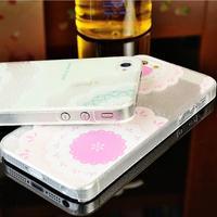 Case for iPhone 4 4s 5 5s 6 models Half Transparent Pattern Carve Plastic Hard Beautiful Case