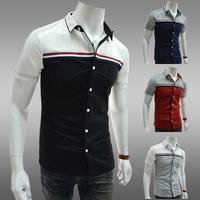 2014Free shippingFashion ribbon male color block decoration  shirts short-sleeve slim turn-down collar shirt