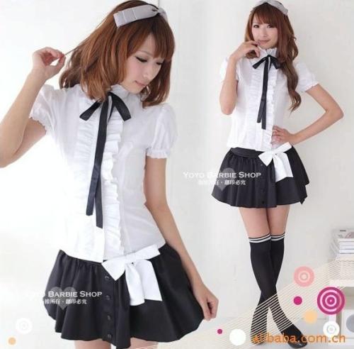 uniforme scolaire des filles costume écolière été, blanc, court ...